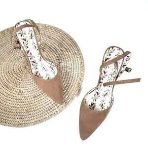 Shoe Republic LA Tan Floral Suede Heels